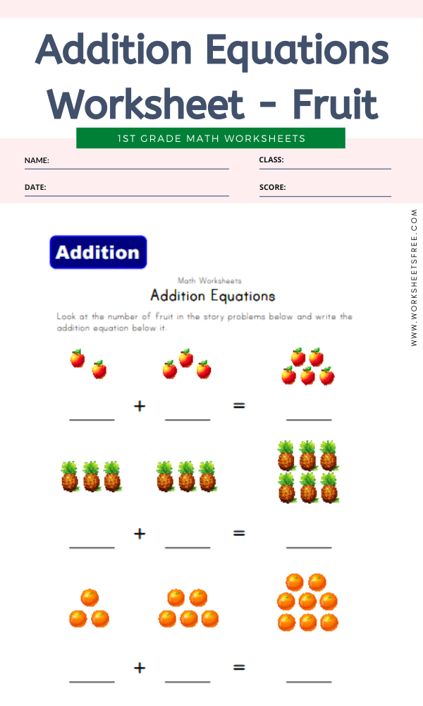 Addition Equations Worksheet - Fruit