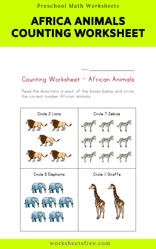 Africa Animals Counting Worksheet