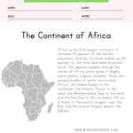 Africa Reading Comprehension Worksheet
