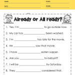 All ready or Already Worksheets 2