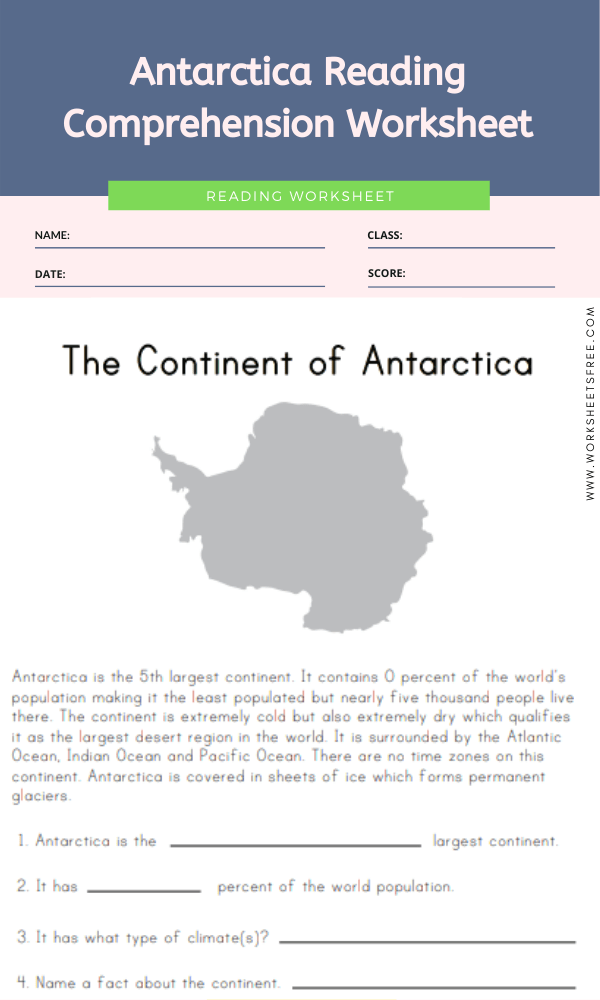 Antarctica Reading Comprehension Worksheet