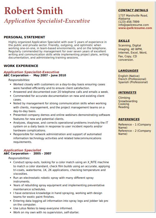 Application Specialist Resume Sample 5