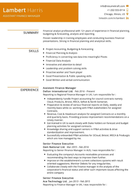 Assistant Finance Manager Resume Example 4