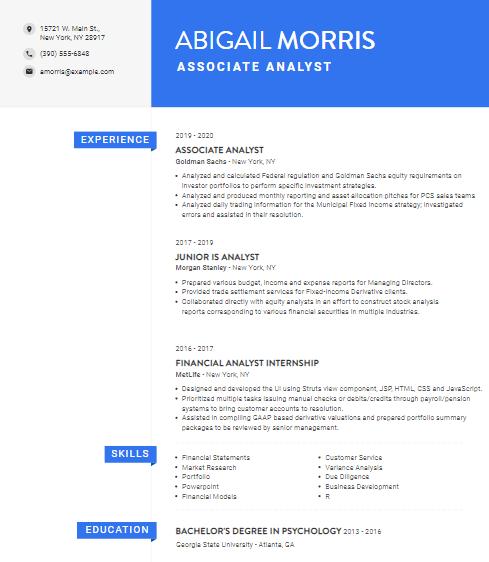 Associate Operations Analyst Resume Sample 5