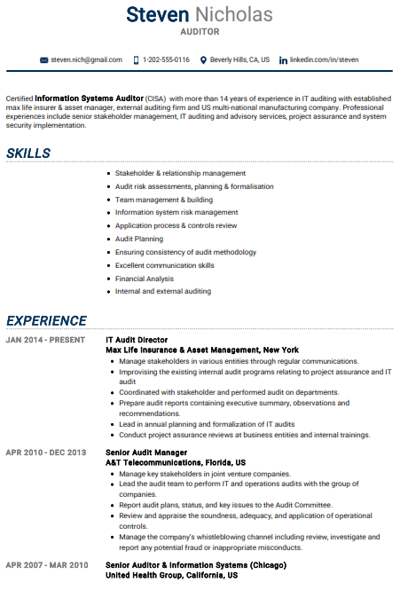 Auditor Resume Example 1