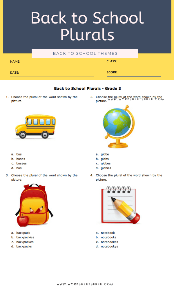 Back to School Plurals