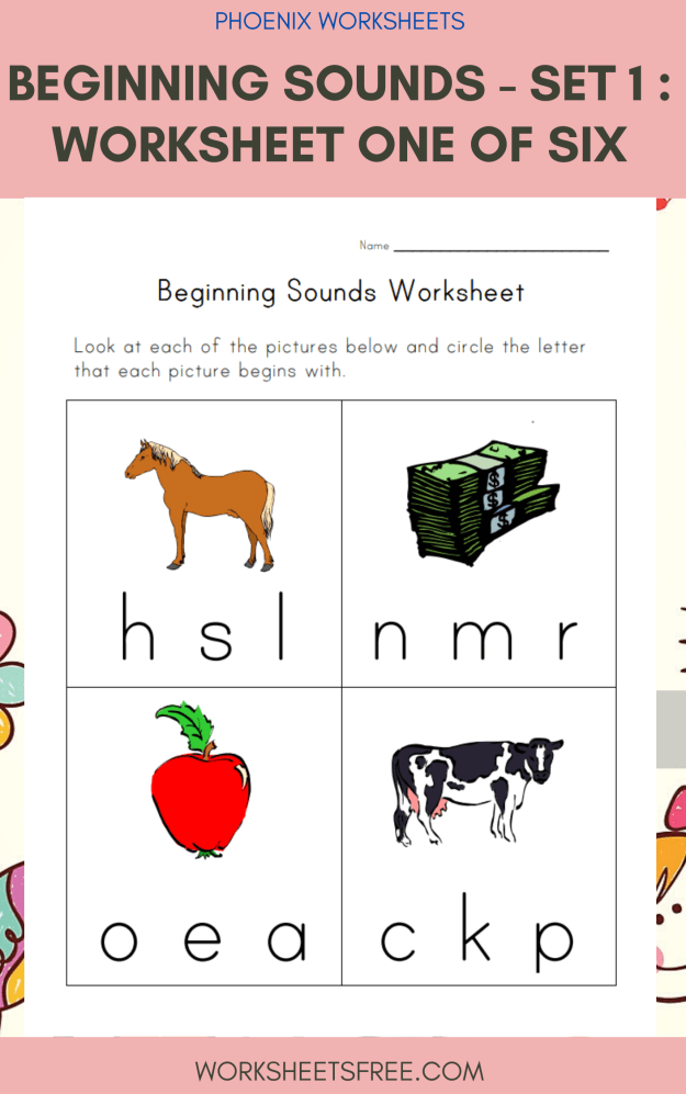 Beginning Sounds - Set 1 : Worksheet One of Six