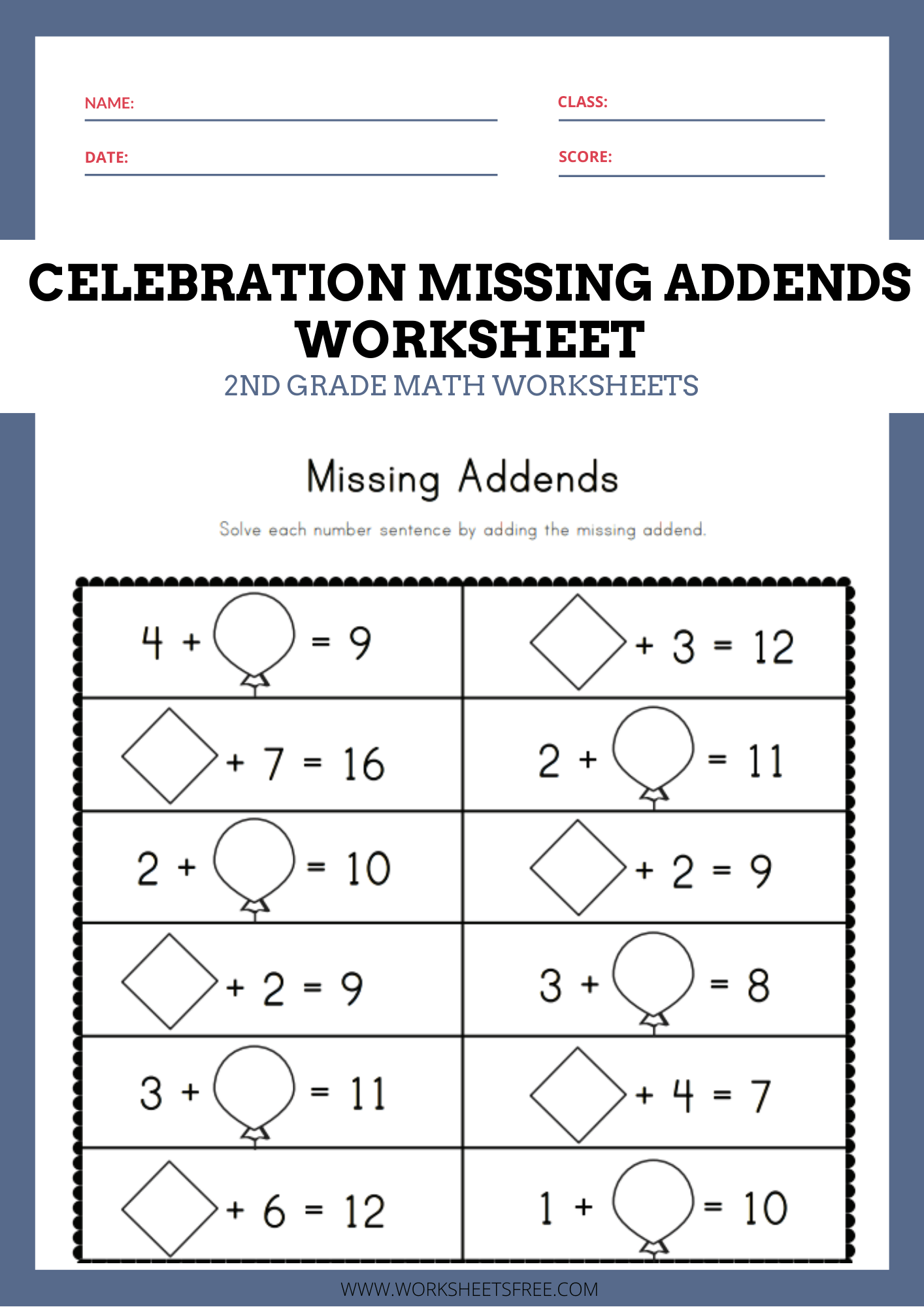 Celebration Missing Addends Worksheet