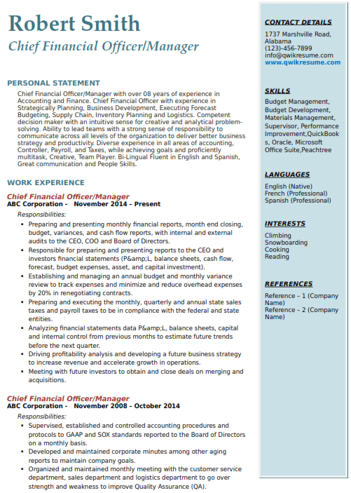 Chief Financial Officer Resume Sample 4