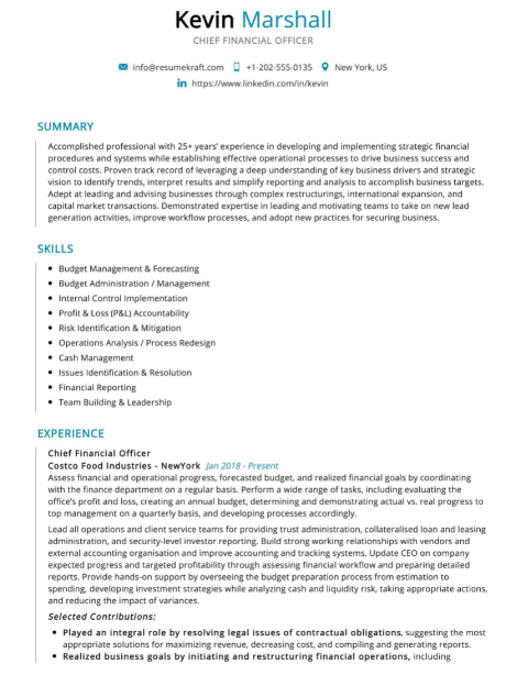 Chief Financial Officer Resume Sample 5