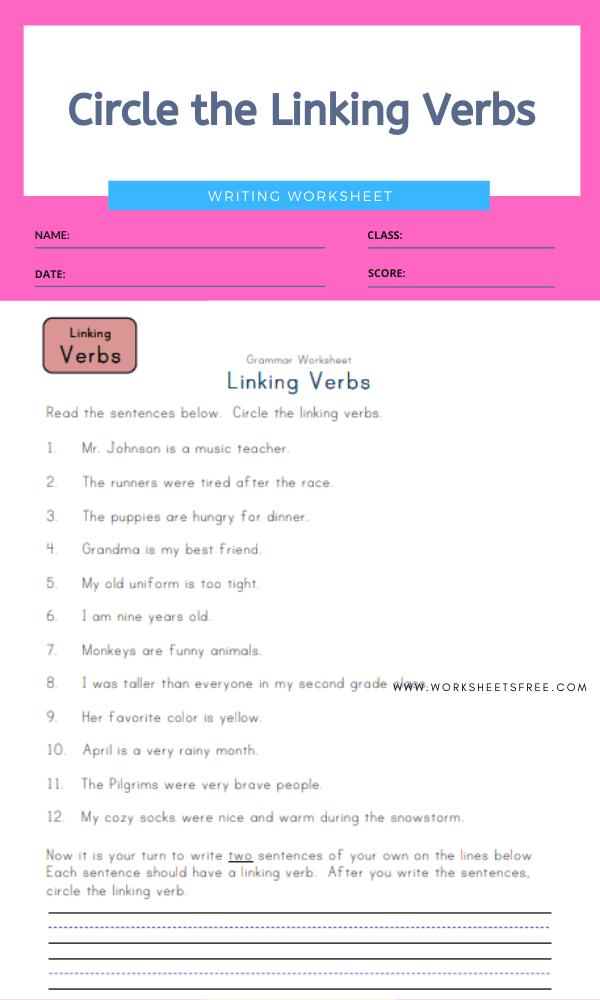 5+ Linking Verb Worksheets : Writing Worksheets Worksheets Free