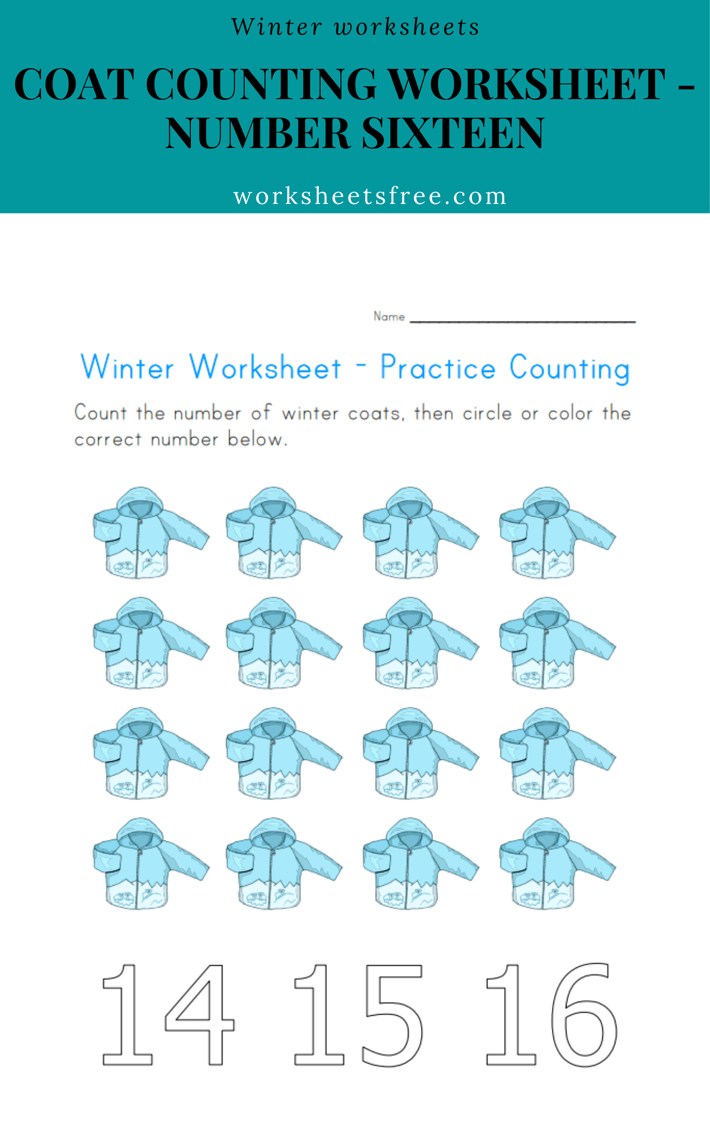 Coat Counting Worksheet Number Sixteen