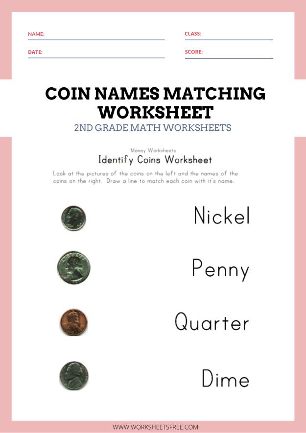 Coin Names Matching Worksheet - Money Worksheets For Kids