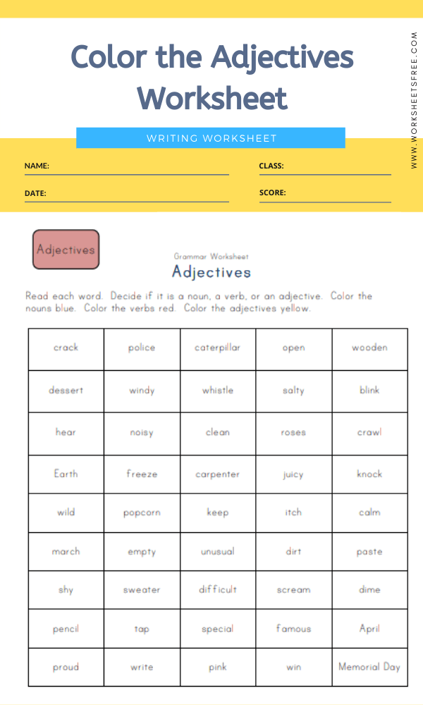 Color the Adjectives Worksheet