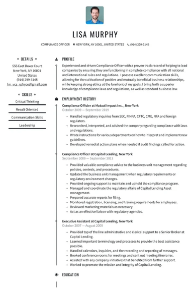 Compliance Manager Resume Sample 1