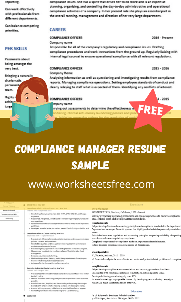 Compliance Manager Resume Sample