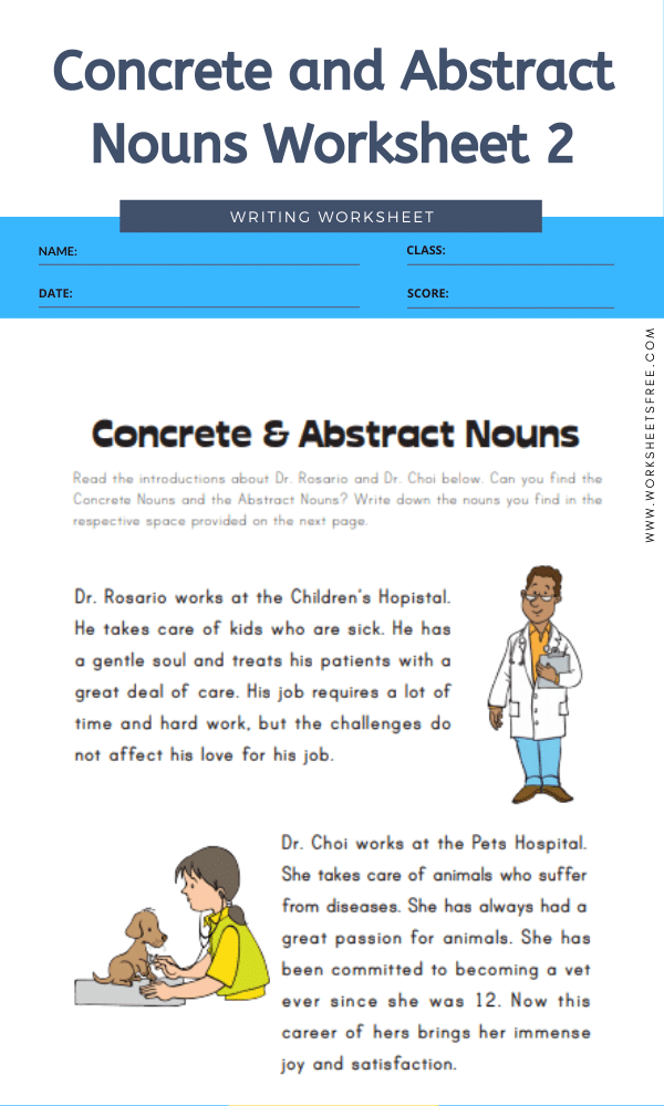 Concrete and Abstract Nouns Worksheet 2