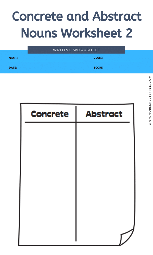 Concrete and Abstract Nouns Worksheet 2b