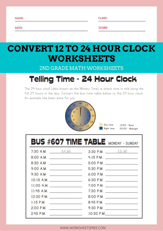Convert 12 to 24 Hour Clock Worksheets