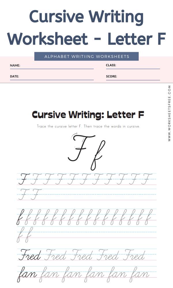 Cursive Writing Worksheet - Letter F Alphabet Worksheets