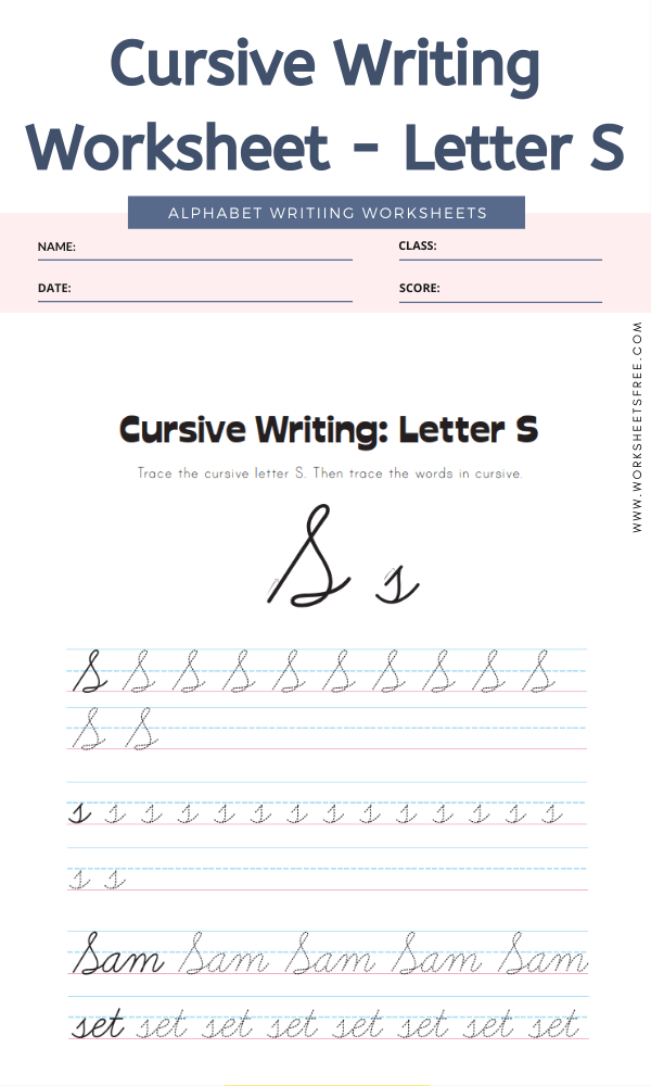 Cursive Writing Worksheet - Letter S Alphabet Worksheets