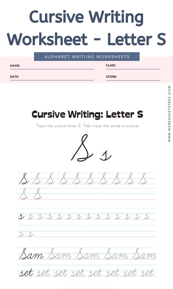Cursive Writing Worksheet - Letter S Alphabet Worksheets