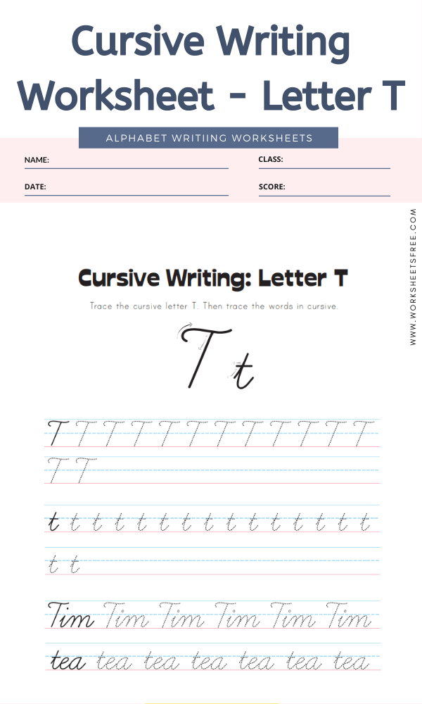 Cursive Writing Worksheet - Letter T Alphabet Worksheets