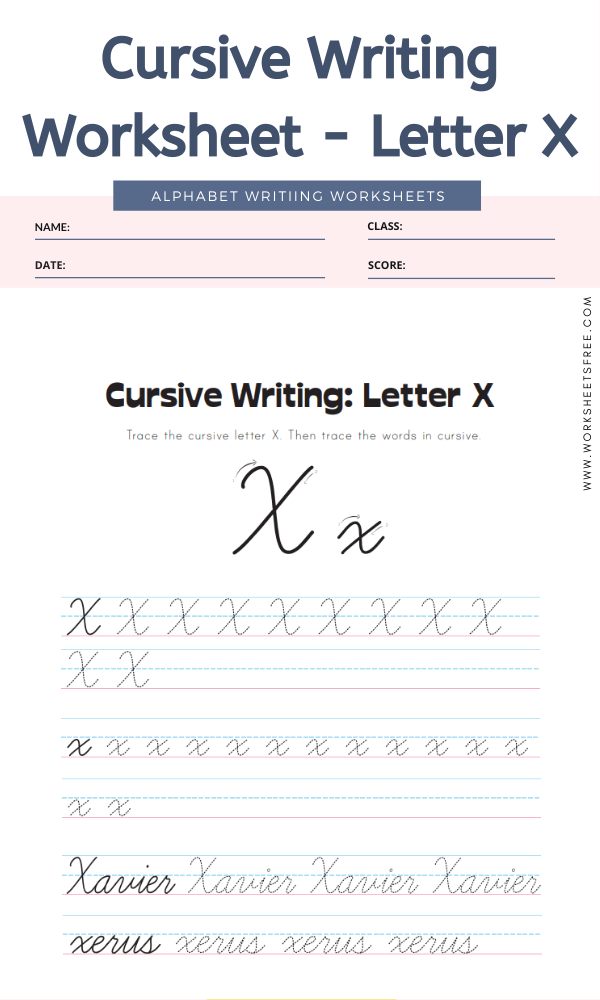 Cursive Writing Worksheet - Letter X Alphabet Worksheets