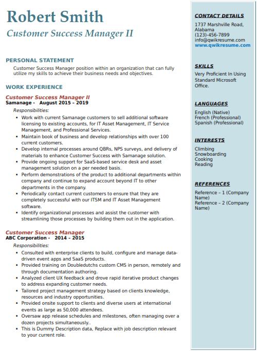 Customer Success Manager Resume 2