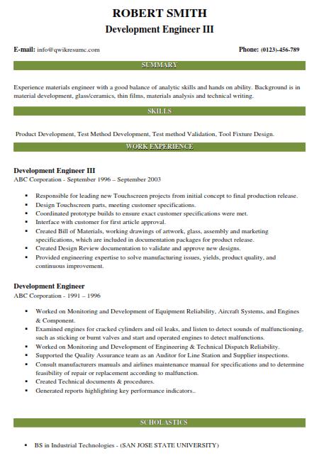 Development Engineer Resume Sample 3