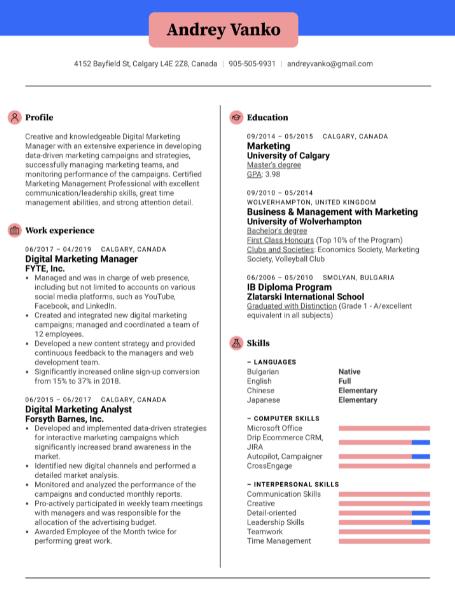 Digital Marketer Resume Sample 1