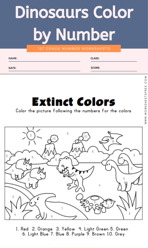 Dinosaurs Color by Number | Worksheets Free