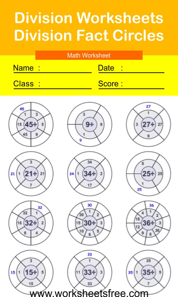Division Worksheets-Division Fact Circles