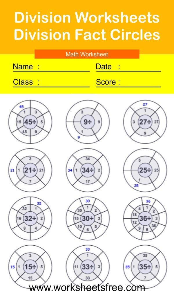 Division Worksheets-Division Fact Circles