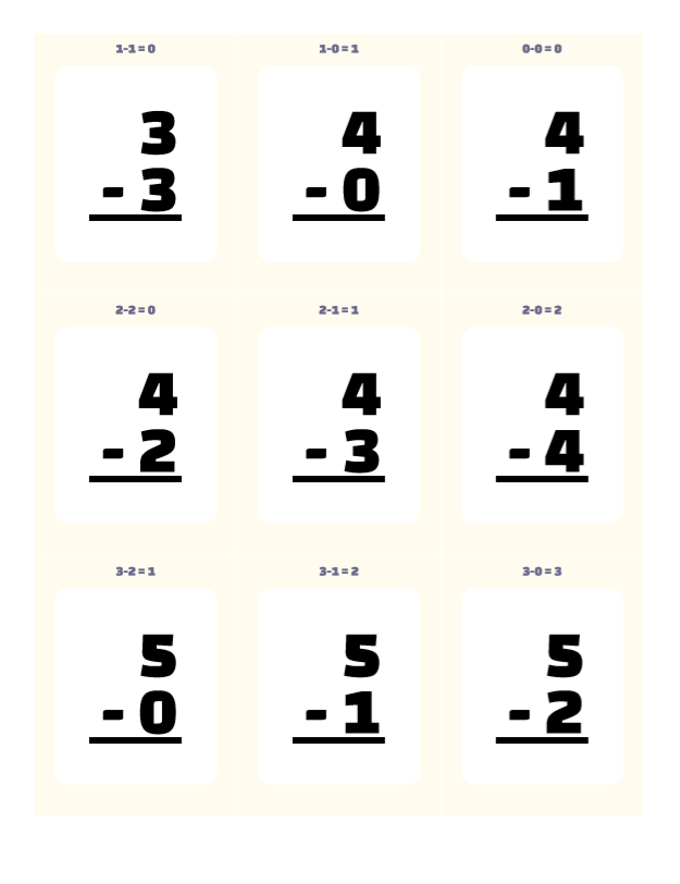 Download Printable Flash Cards Math Subtraction