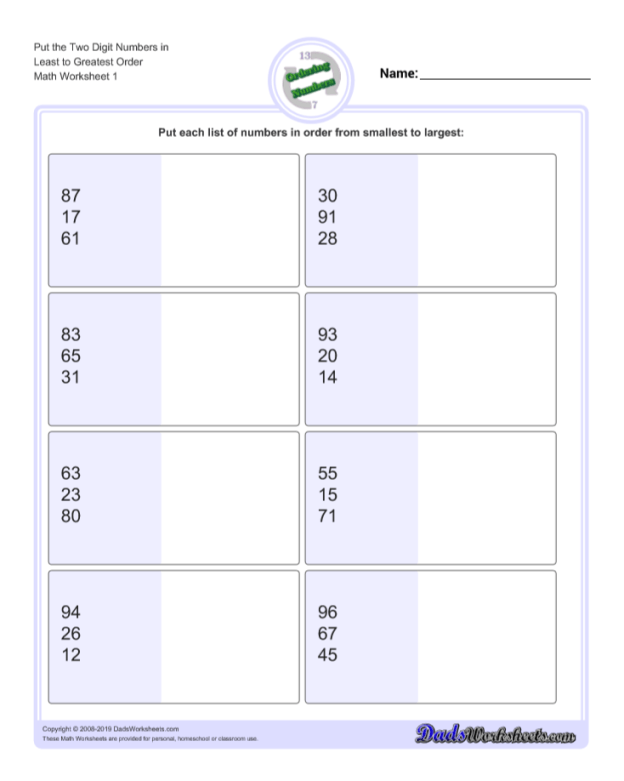 Download Printables Least to Greatest Ordering Numbers Worksheets