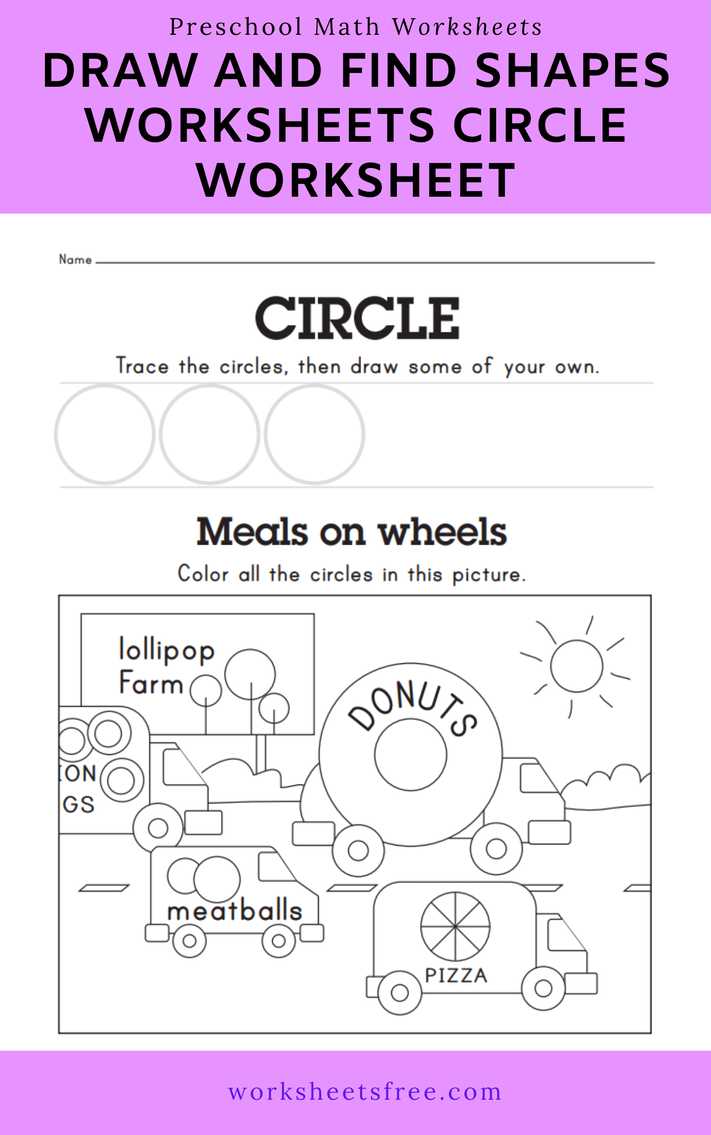 Draw And Find Shapes Worksheets Circle Worksheet