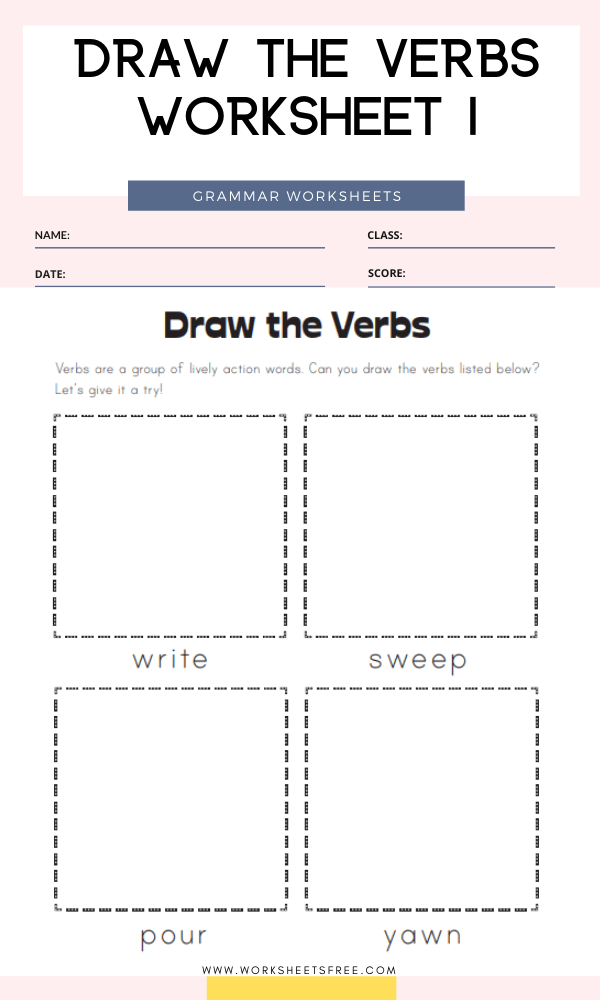Draw the Verbs Worksheet 1