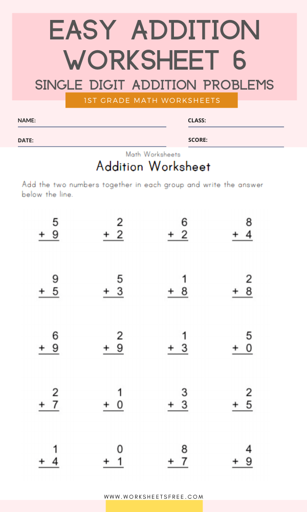 Easy Addition Worksheet 6 Grade 1 Single Digit Addition Problems