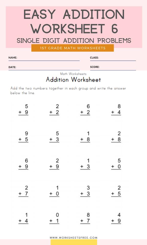 Easy Addition Worksheet 6 Grade 1 Single Digit Addition Problems