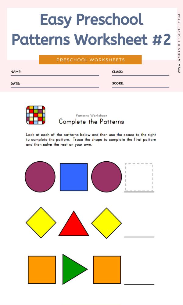 Easy Preschool Patterns Worksheet #2
