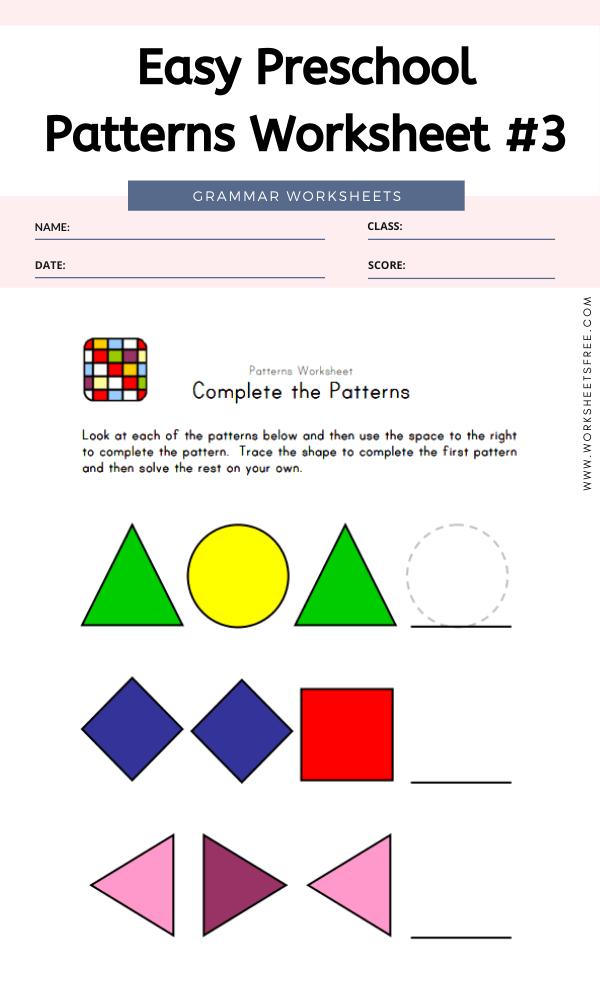 Easy Preschool Patterns Worksheet #3