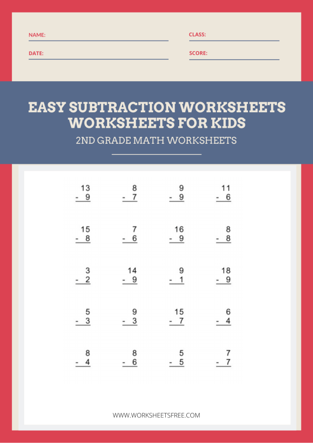 Easy Subtraction Worksheet 2