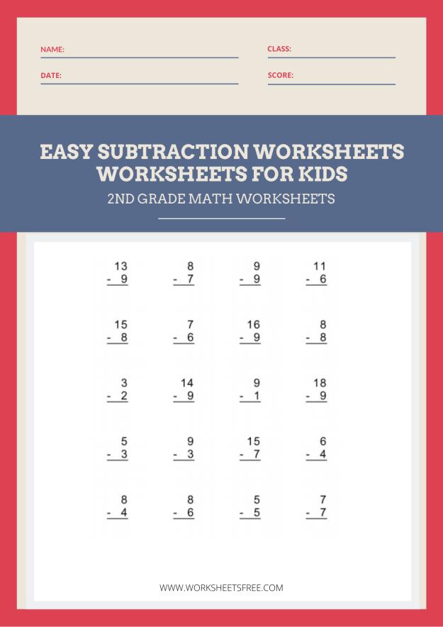 Easy Subtraction Worksheet 2