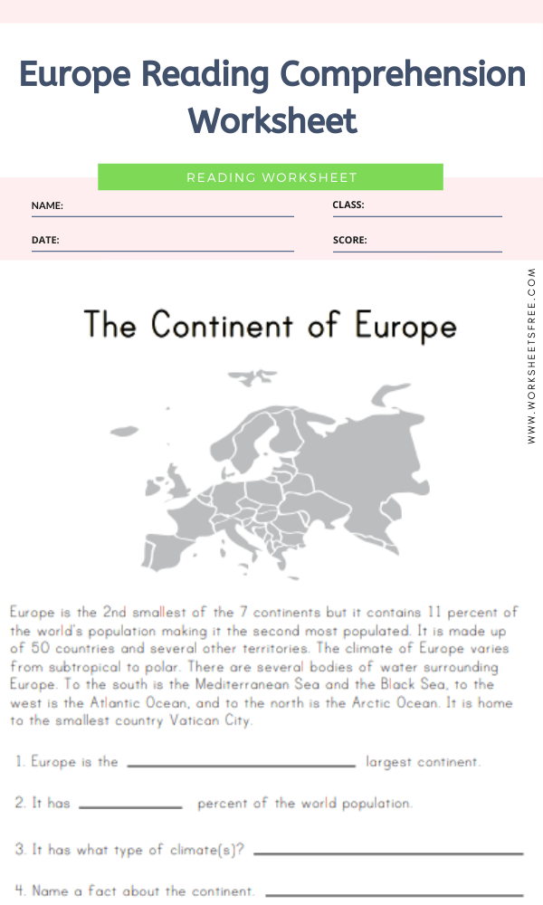 Europe Reading Comprehension Worksheet