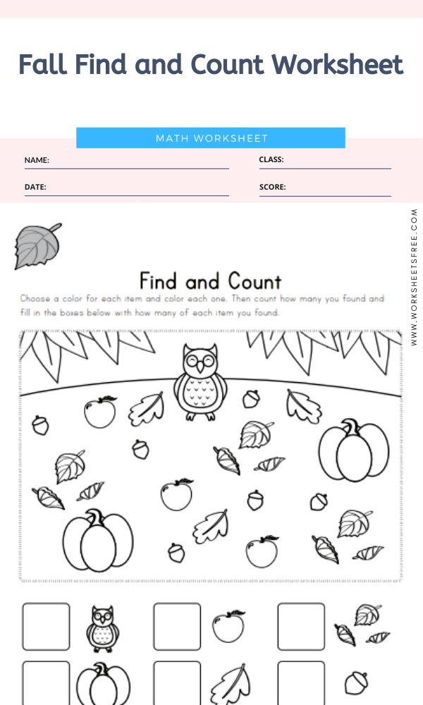 Fall Find and Count Worksheet