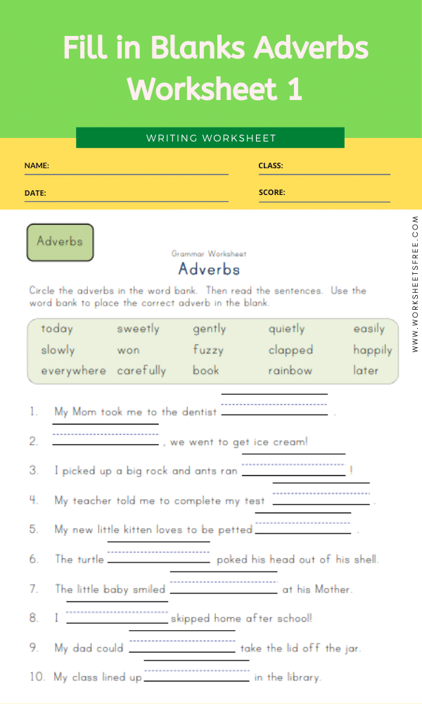 Fill in Blanks Adverbs Worksheet 1