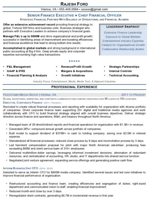 Finance Executive Resume Sample 2