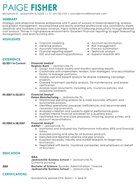 Financial Analyst Resume Sample 1