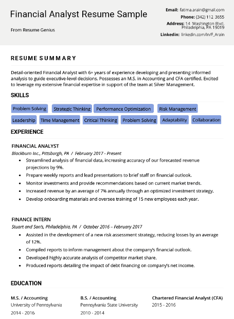 Financial Analyst Resume Sample 3